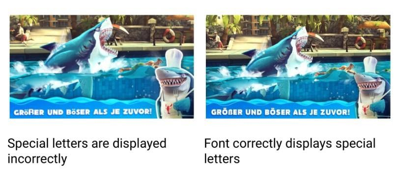 "Shark game comparison. From left: Special letters are displayed incorrectly, ""Font correctly displays special letters."""