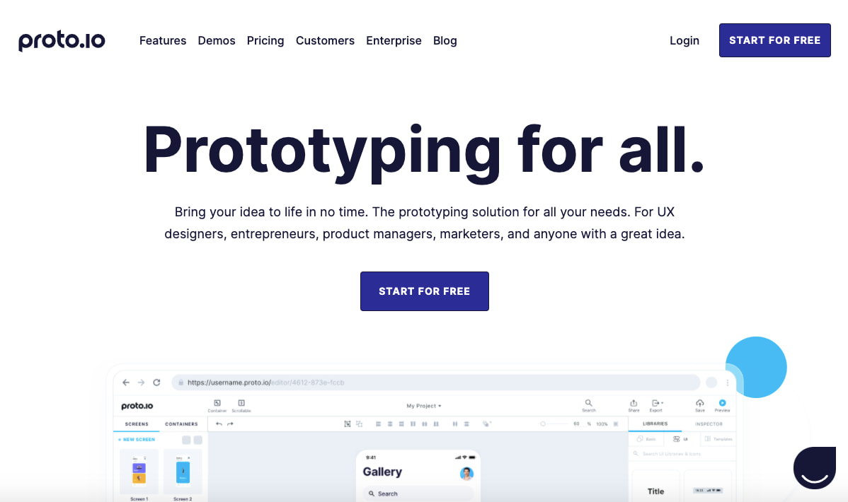 Proto.io wireframe tool homepage that reads prototyping for all and has a CTA to start for free