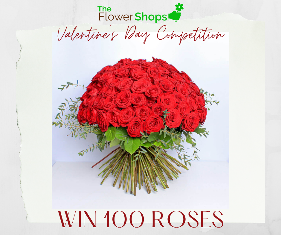 Flowers for Valentines Day, win 100 red roses from The Flower Shops.