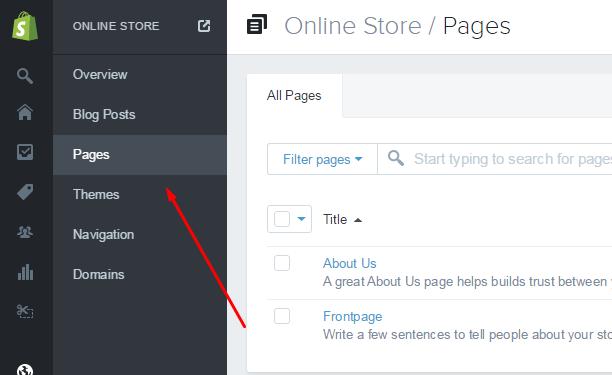 Shopify Pages menu