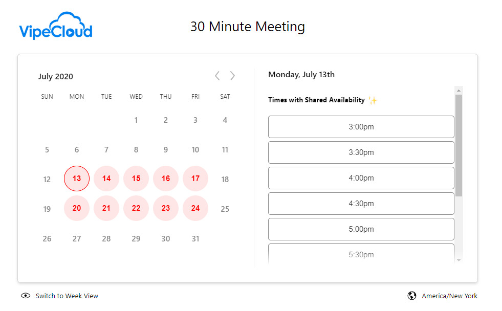 Screenshot of VipeCloud scheduler tool, which can be used to easily book discovery calls.