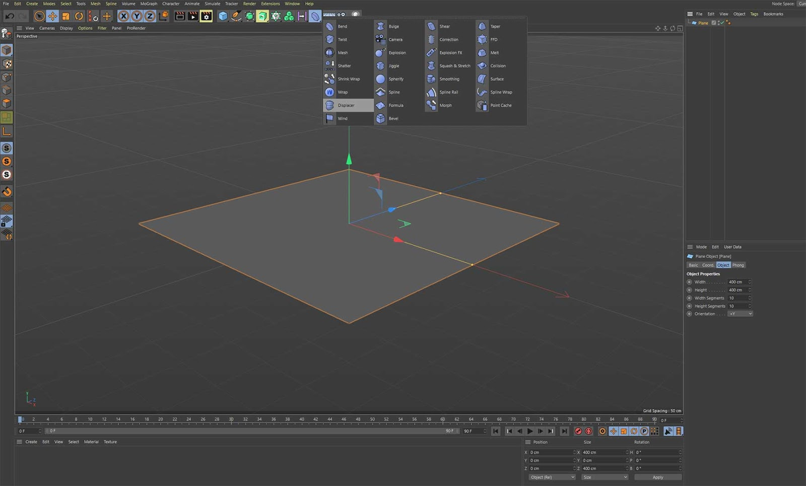Adding displacement in Cinema 4D
