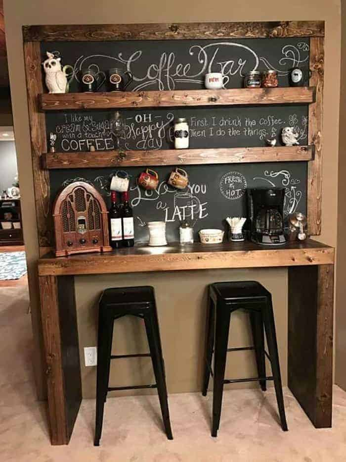 Coffee Station Idea With Shelved Chalkboard