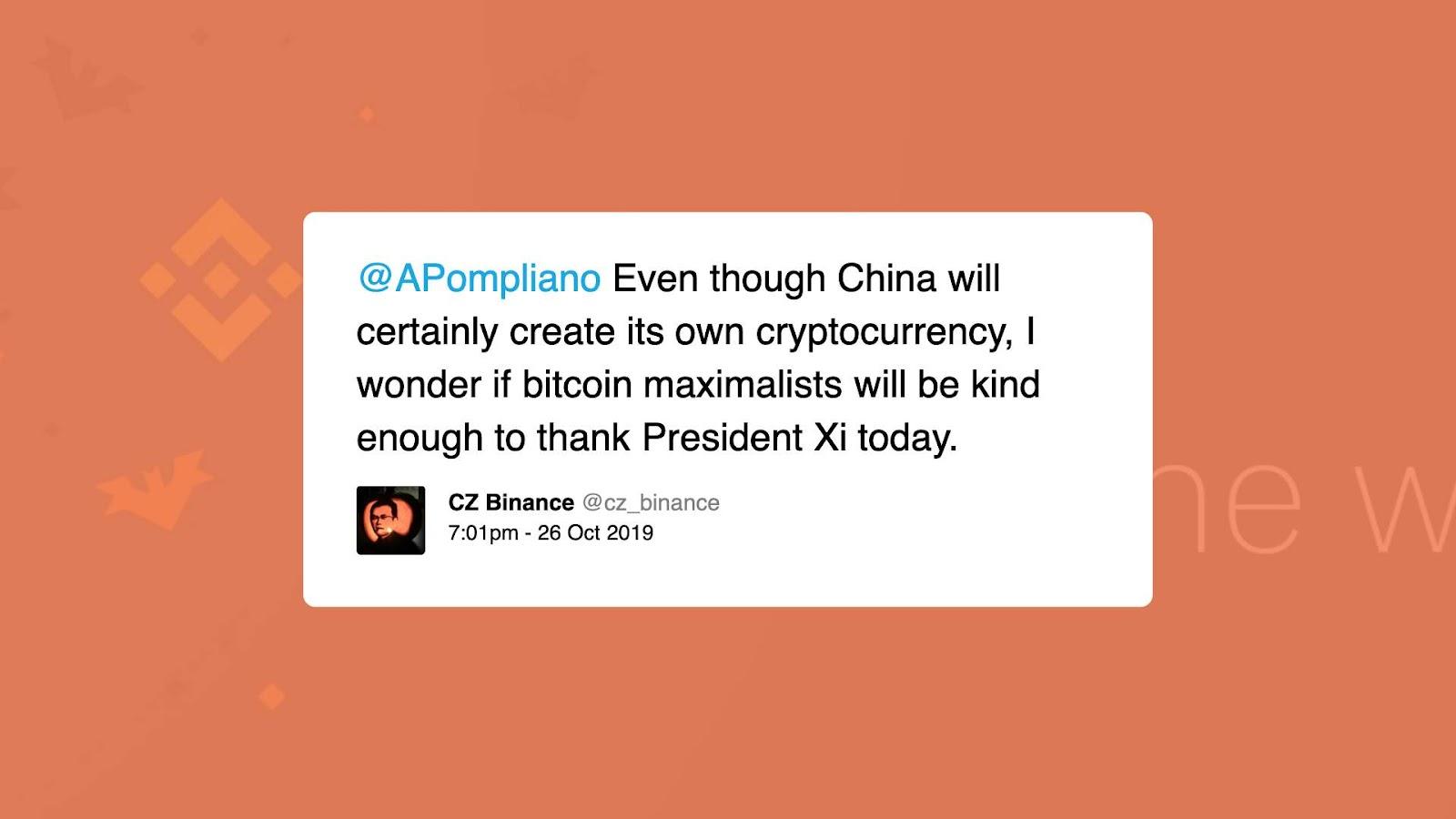 Changpeng Zhao tweet