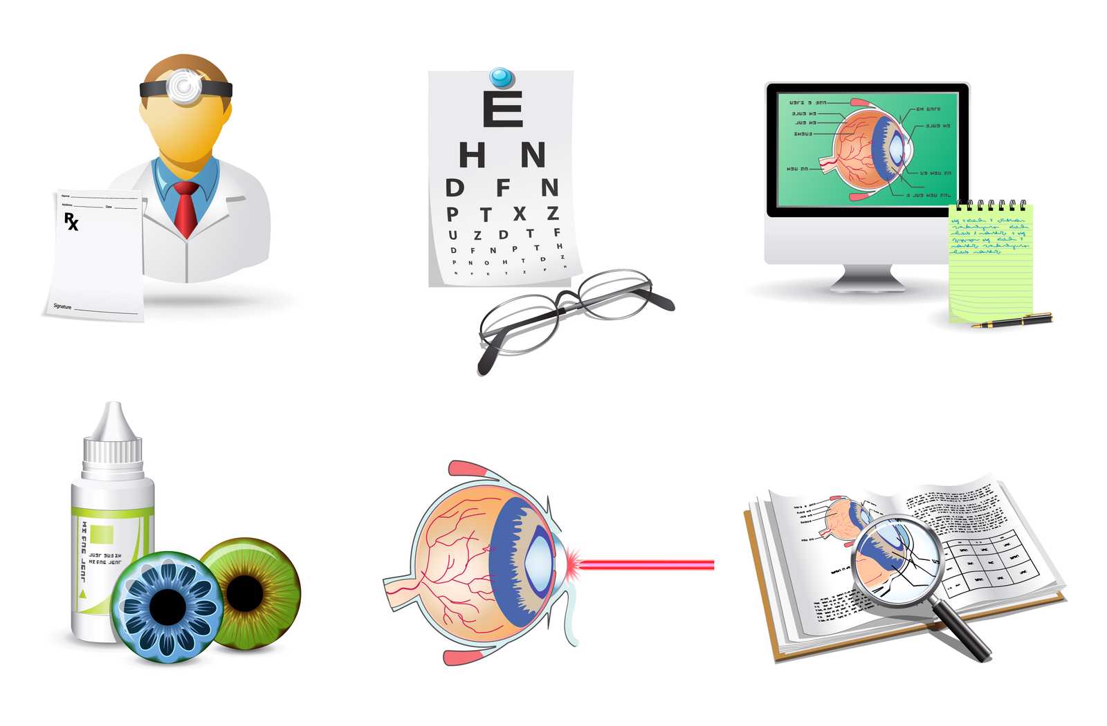 illustration of systematic prescription eye drop treatment from eye doctor