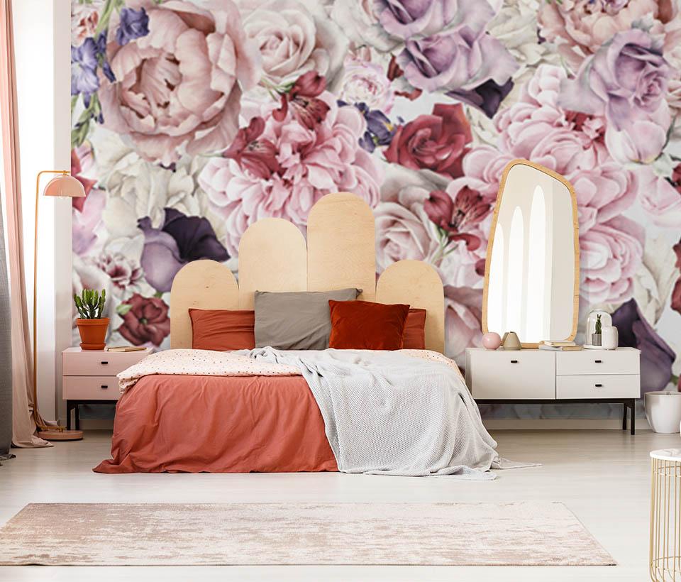 Фотообои Цветы в интерьере на стене