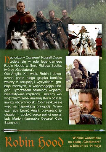Tył ulotki filmu 'Robin Hood'