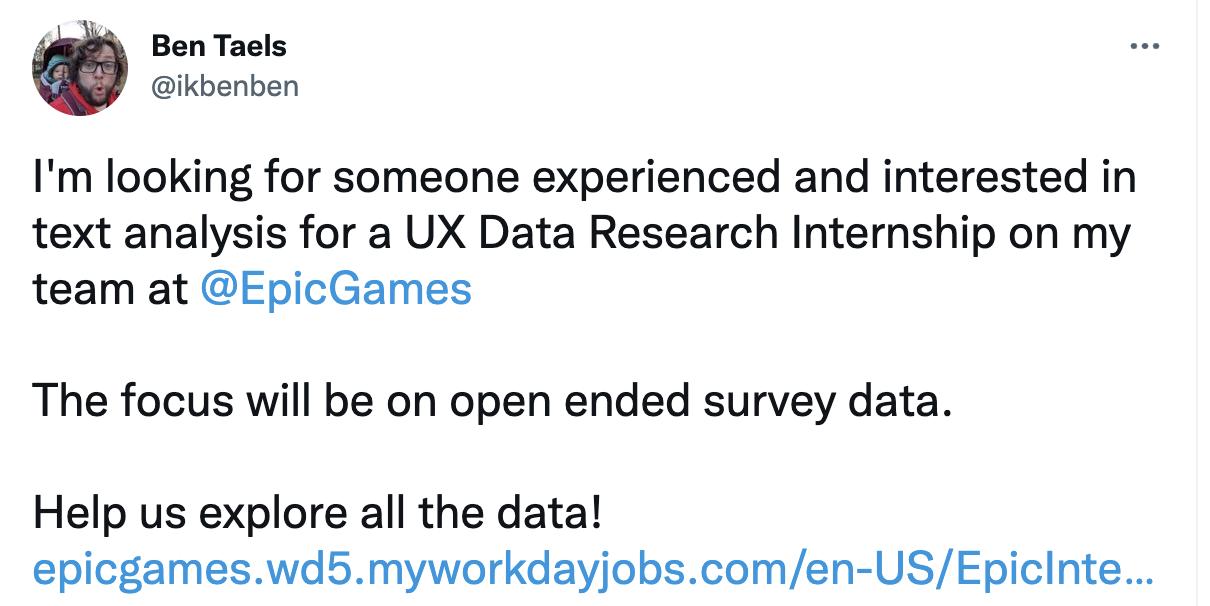 Ben Taels - Tweet looking for UX Data Research Intern