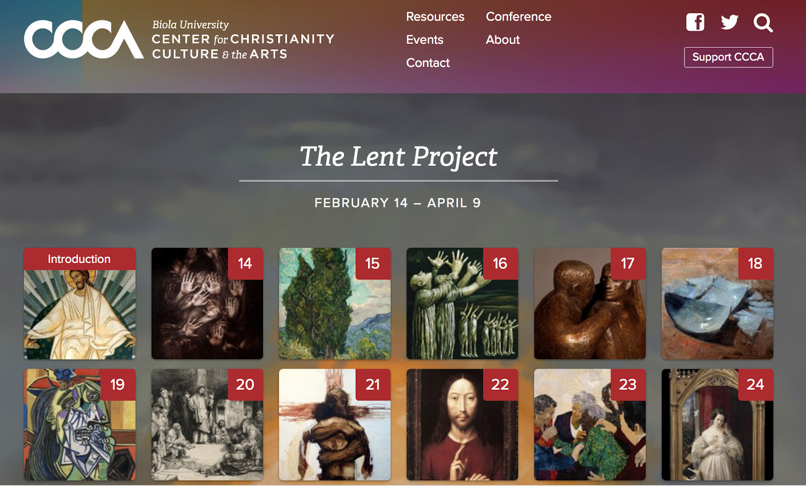 Screenshot of Biola's Lent Project