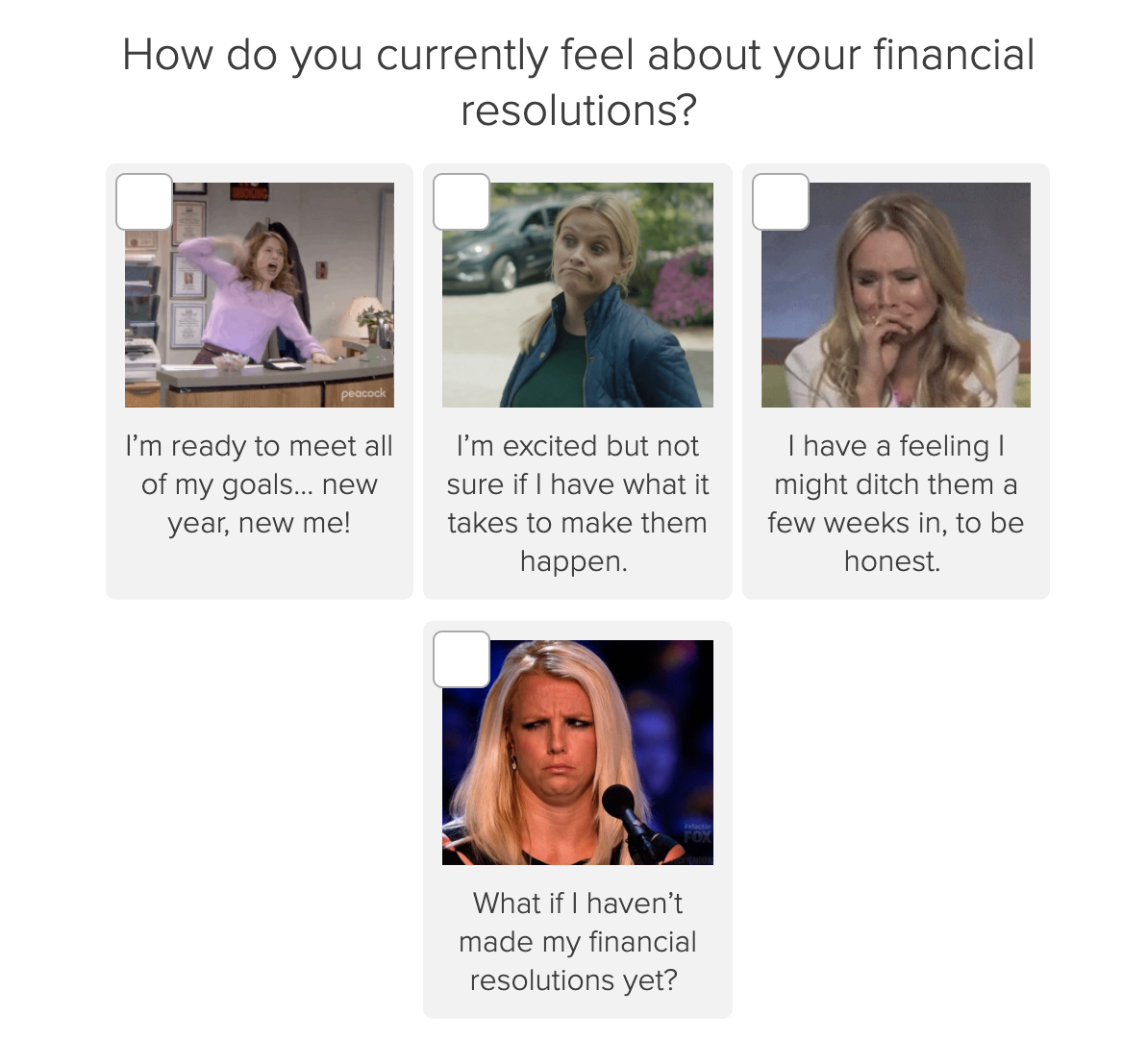 financial new year's resolutions quiz question