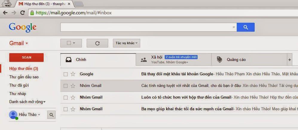 Một góc giao diện tài khoản Gmail sau khi đăng nhập