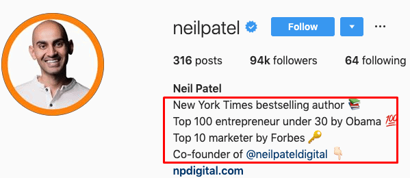 Using Neil Patel's Instagram bio as an example.