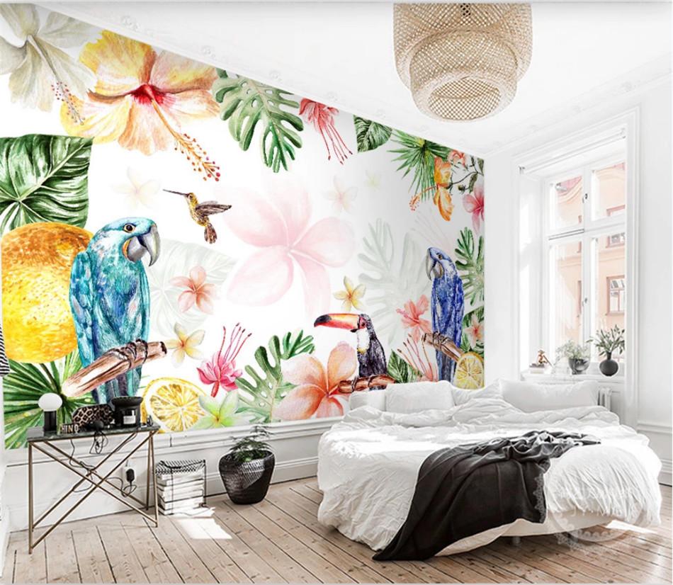 Tropical Floral Parrots Mural