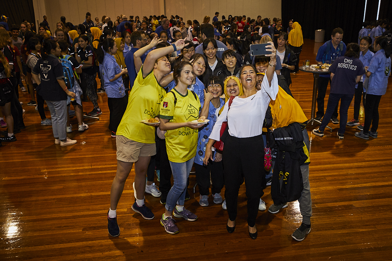 Photo of students at the FIRST Regional Robotics Competition at Sydney Olympic Park.