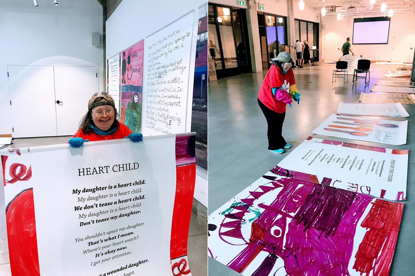"On the left, artist Teresa Pocock holds up her ""Heart Child"" poem which is printed as a large 4' x 5' poster on styrene. On the right, Teresa points and laughs at her poem ""Eyes of the Tiger"". Both images were taken on July 21, 2019 at the hanging of Teresa's art show. Photos by Franke James."