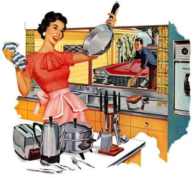 Ilustração mostra uma mulher com seus eletrodomésticos e um homem com seu carro representando o American Way of Life.
