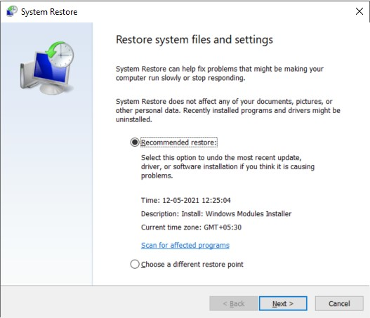 Choose the desired restore point and click Next on the System Restore window