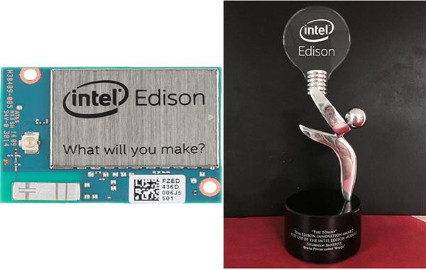 "Left: Intel-Edison module now available world-wide for developers. Right: The ""Tommy"" award given by the Edison Innovation Foundation."