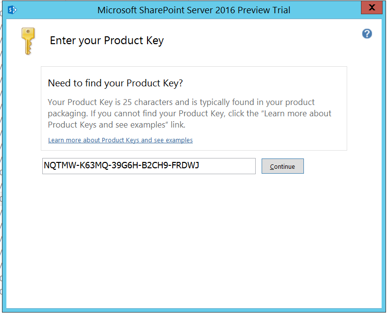 SharePoint 2016 IT Preview Product Key