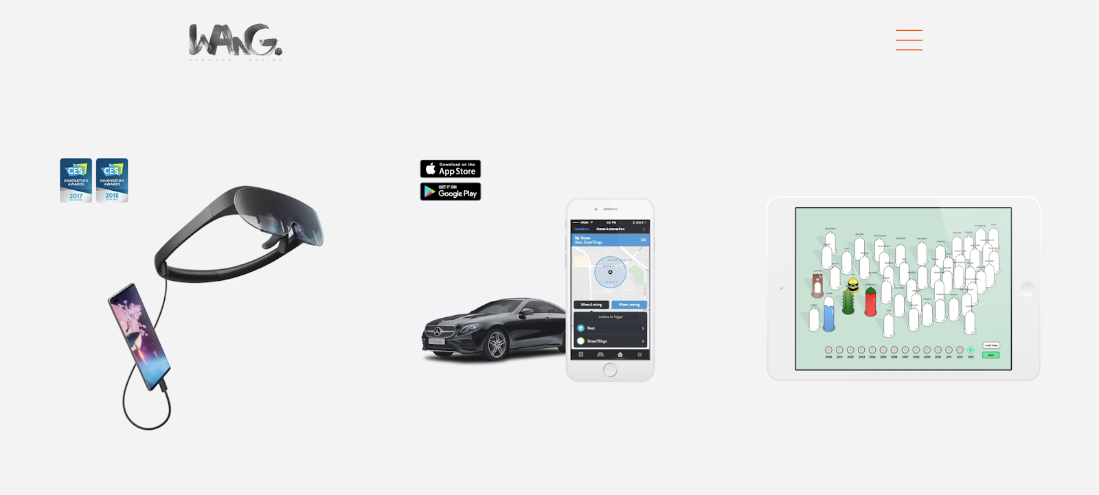 Screenshot of nanwang-design.com, Nan Wang's UX Design portfolio.