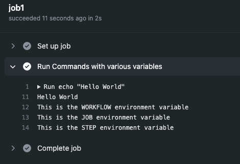 Ilustração do output do workflow usando as variáveis de ambiente no Actions.