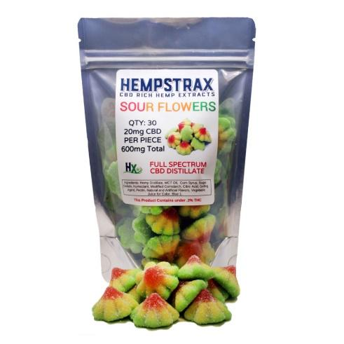 Hempstrax Sour Flower 20mg CBD Gummy Edible