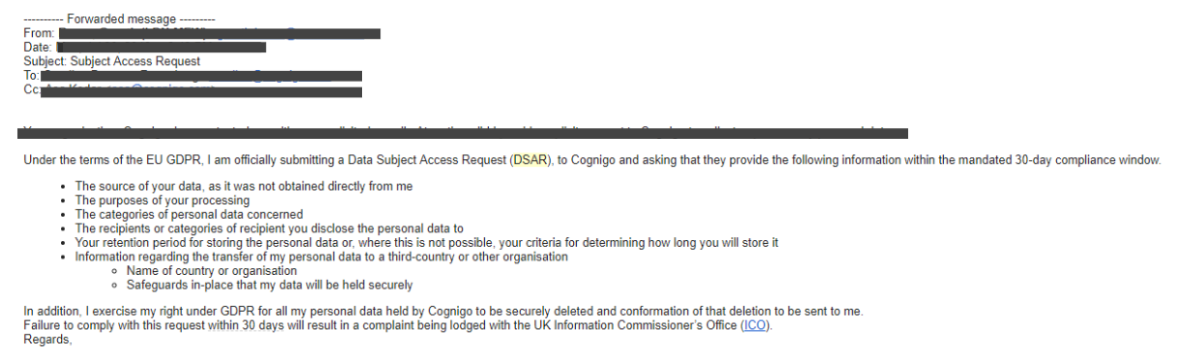 Data Subject Access (DSAR) email request