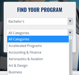 screenshot of Southern New Hampshire University website showing a drop down of all degree categories
