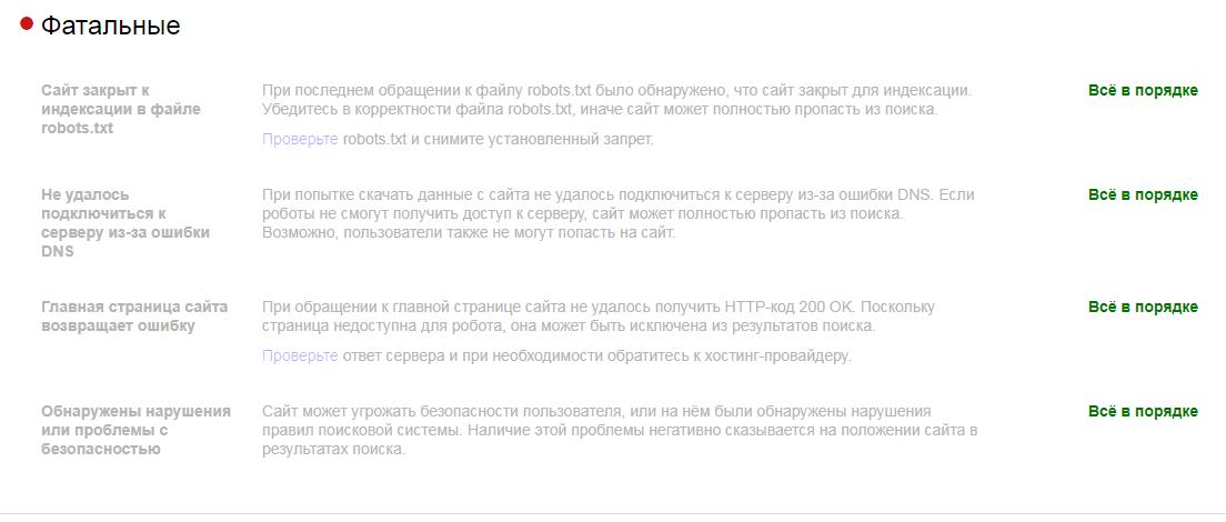 Фатальные ошибки в Яндекс Вебмастере