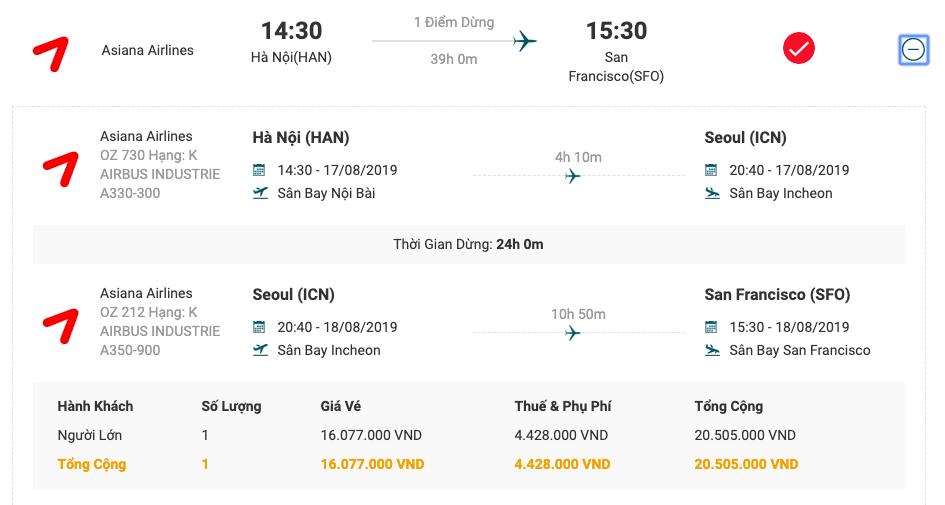 Vé máy bay từ Hà Nội đi San Francisco của Asiana Airlines