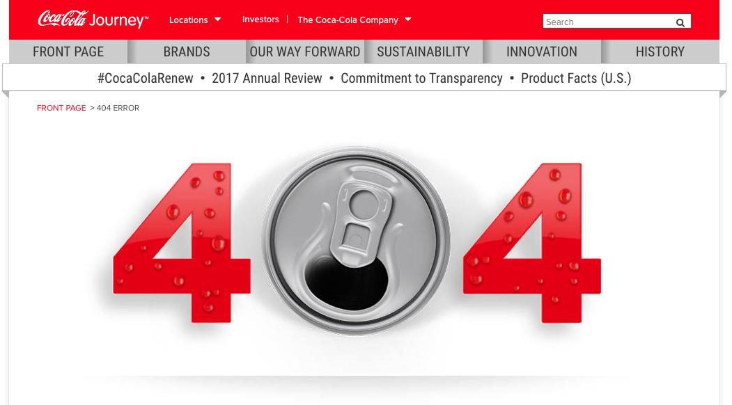 Ejemplo de error 404: coca-cola journey