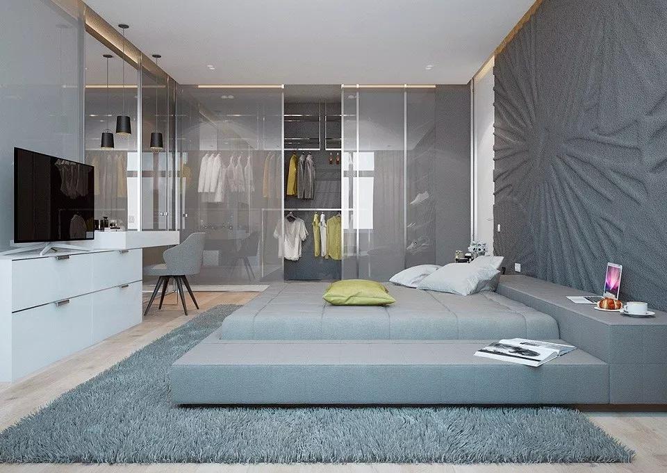 Phòng thay đồ trong phòng ngủ có sử dụng vách kính mờ
