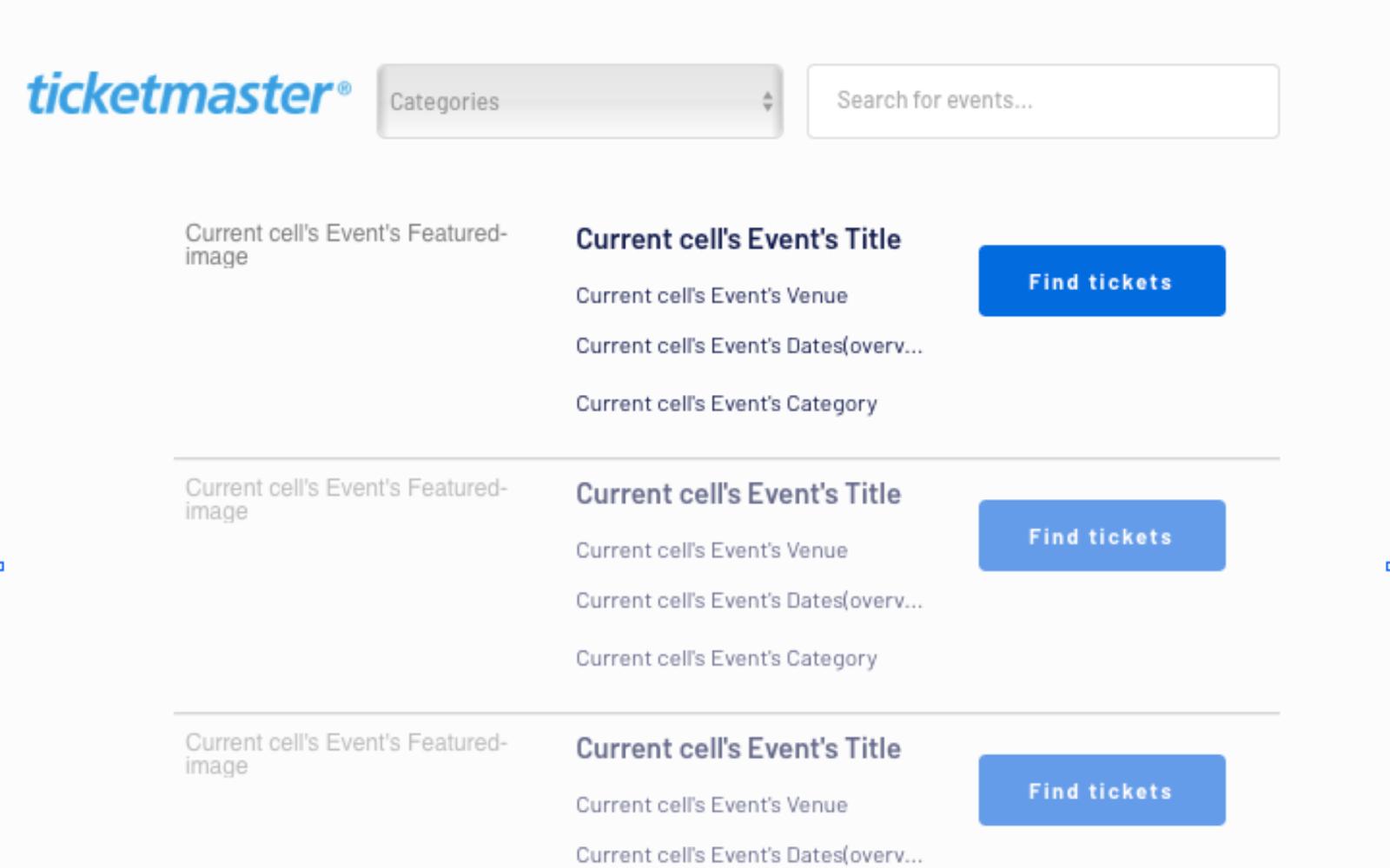 Sample UI Bubble Ticketmaster clone