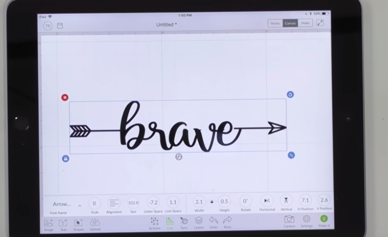 Cricut Design space screen showing word Brave written with Makers Gonna Learn arrow font