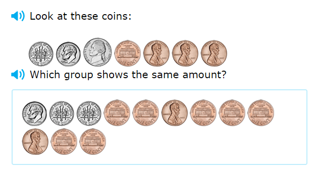 Equivalent Coins math game