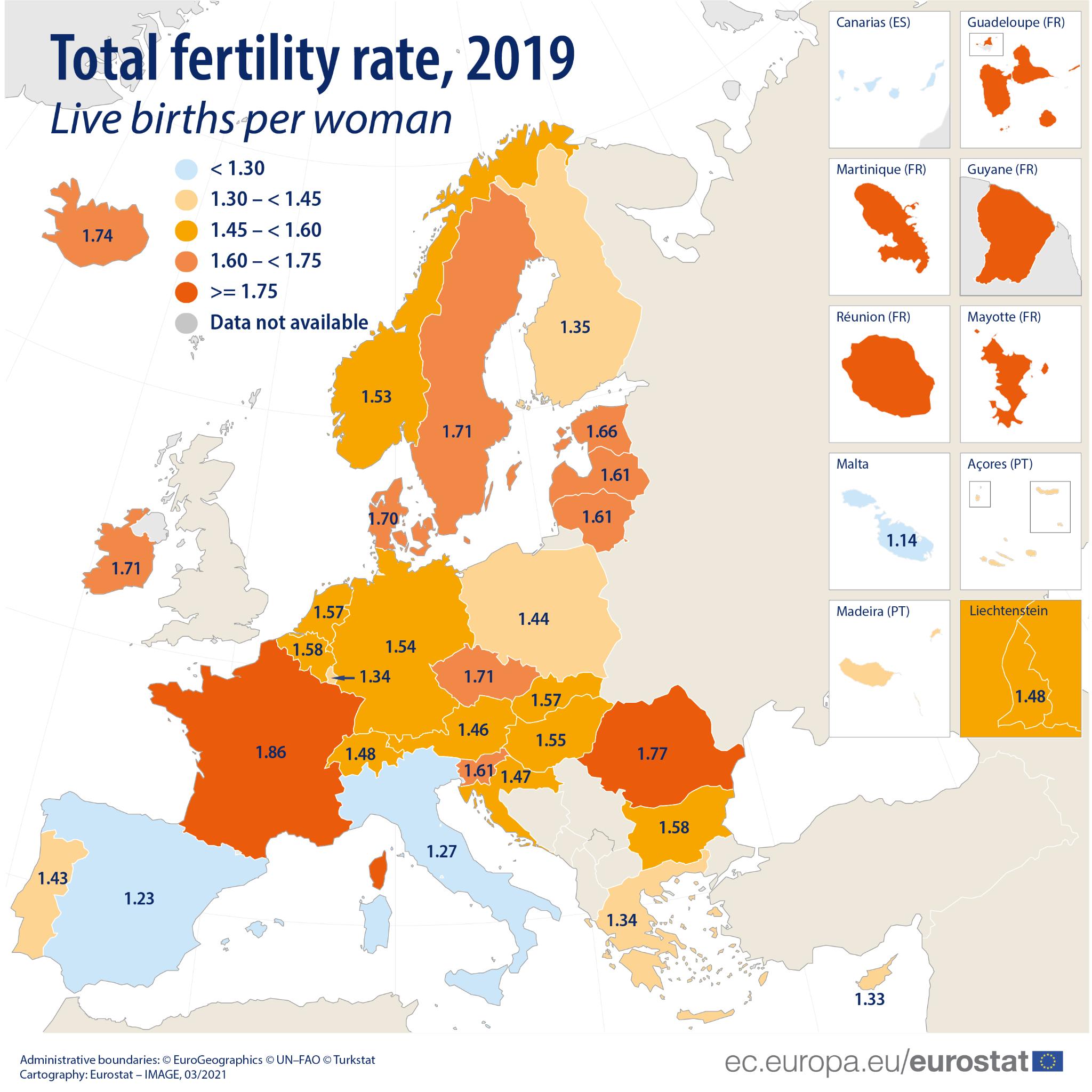 Współczynnik dzietności w Unii Europejskiej