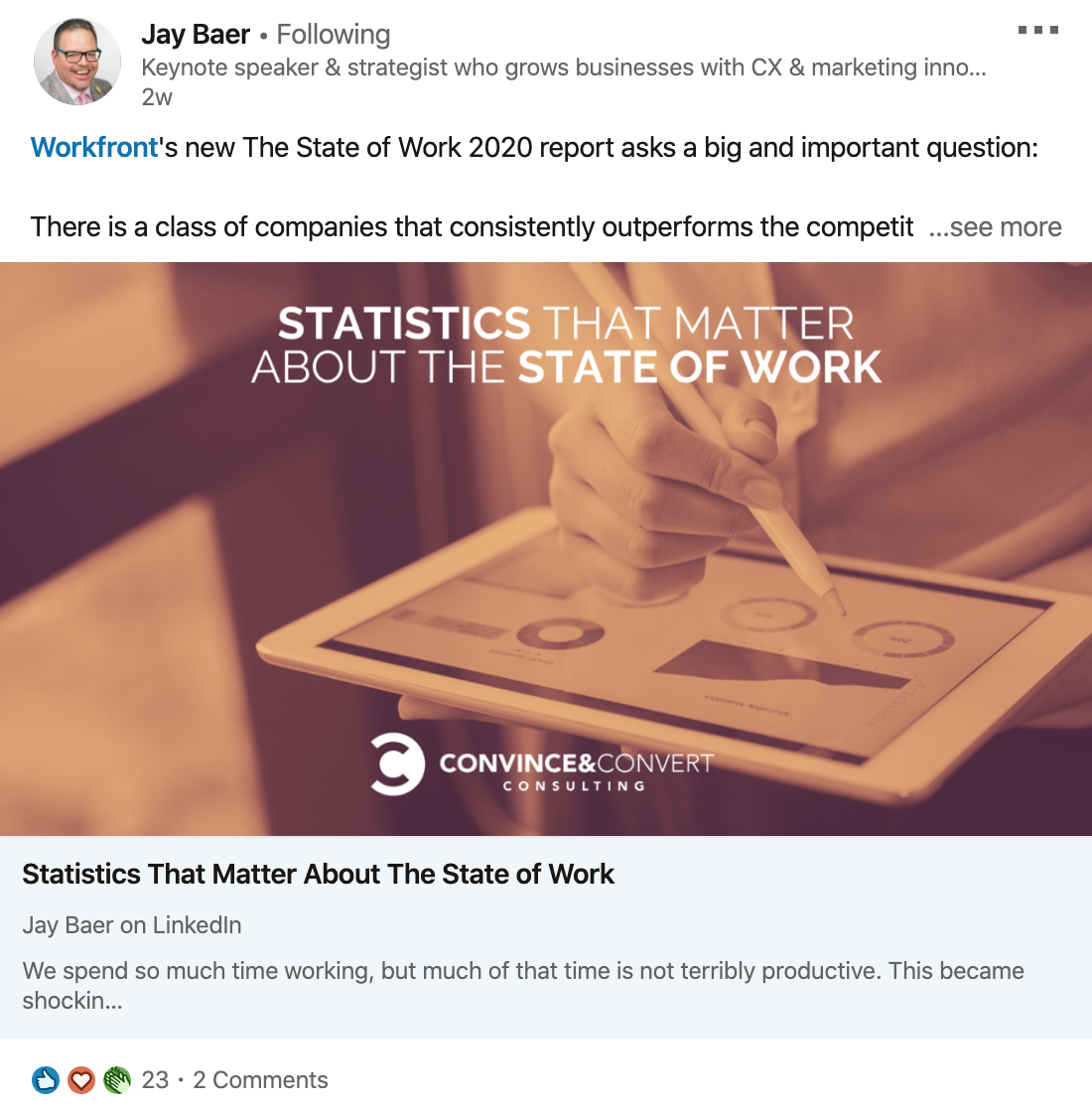 Jay Baer sharing a State of Work report on LinkedIn