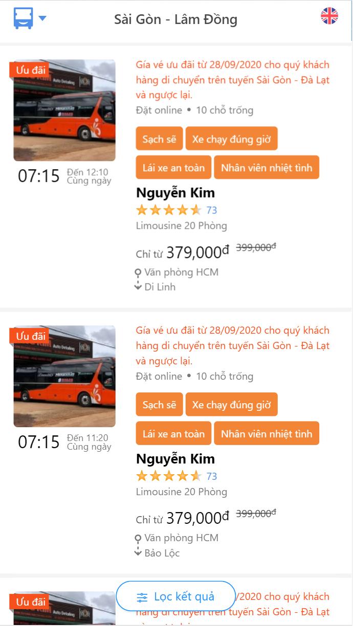 Giờ xuất bến Nhà xe Nguyễn Kim đi Đà Lạt