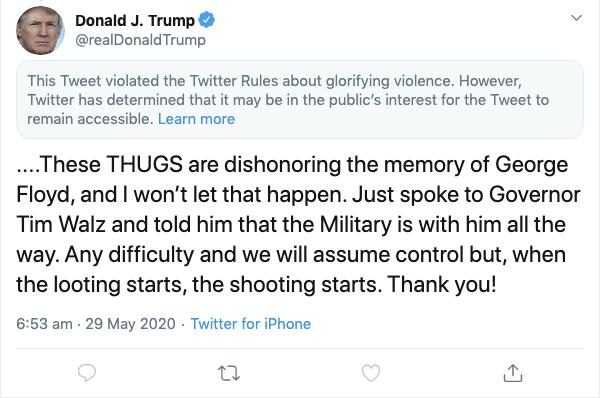 Twitter hides Trump tweet for 'glorifying violence' - Reuters