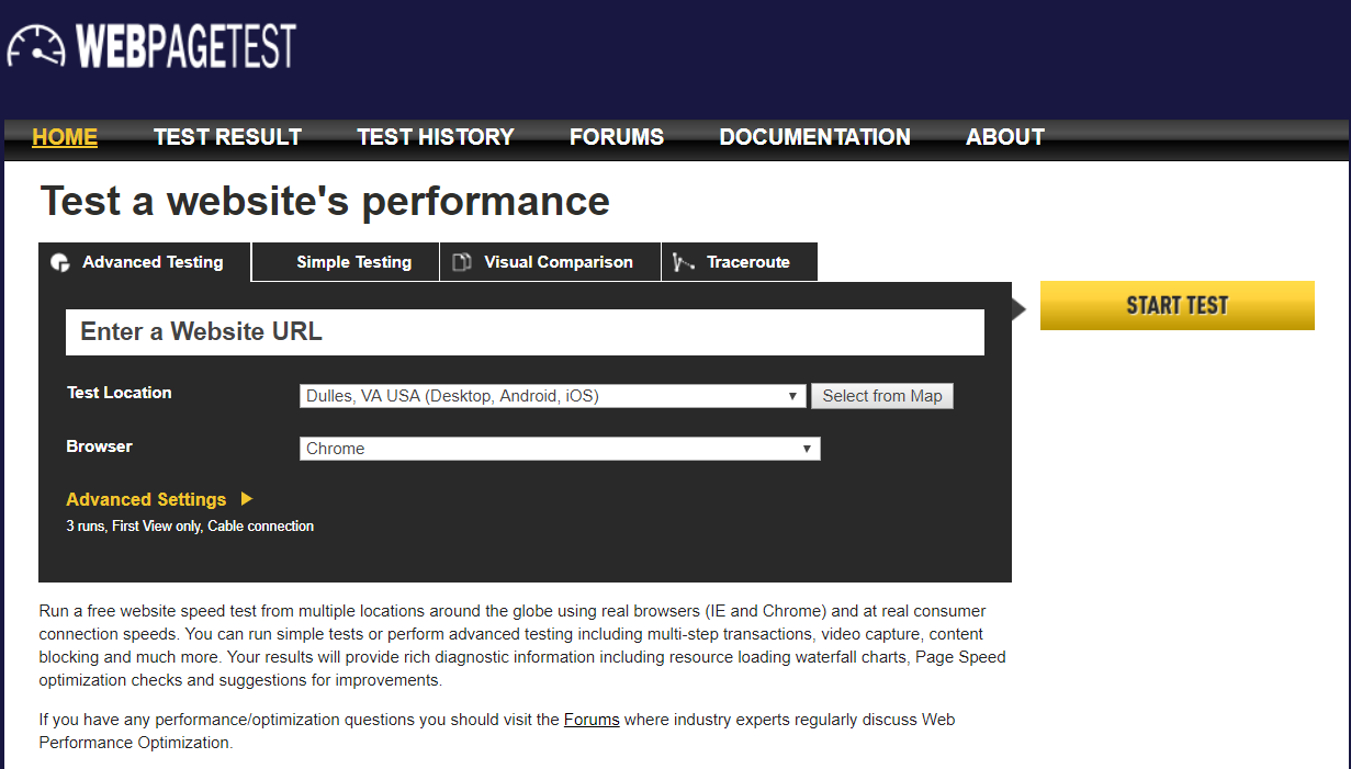 Wep page test for a website's performance