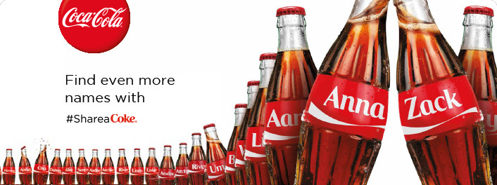 Coca-Cola bottles with names.