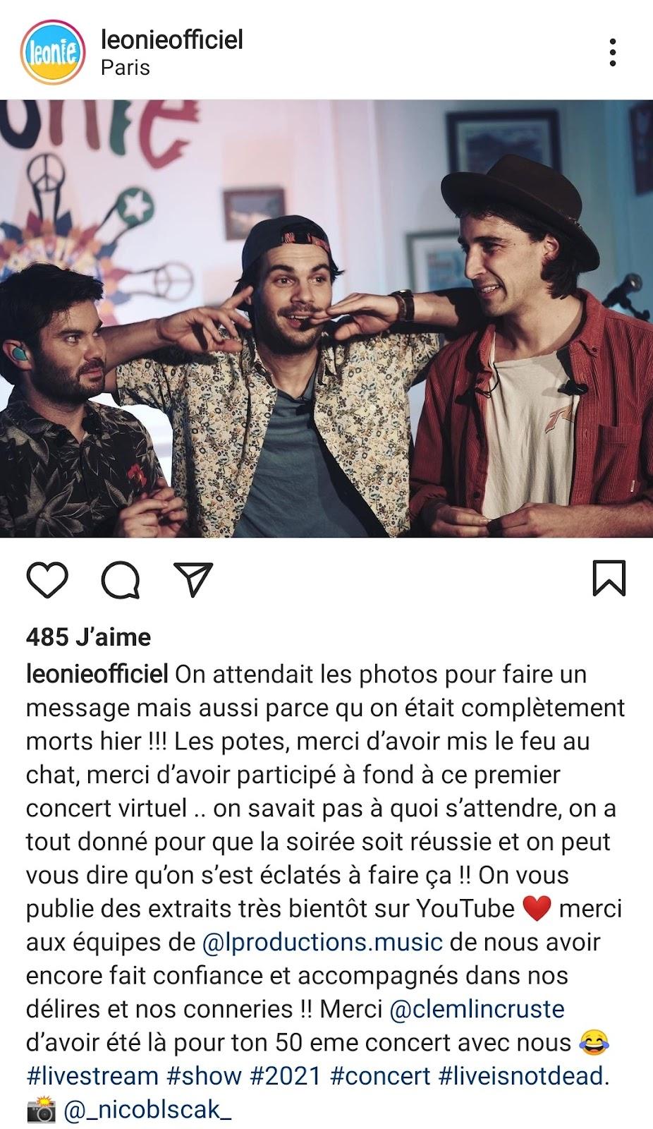 post instagram du groupe Léonie officiel représentant les 3 membres du groupe après leur concert