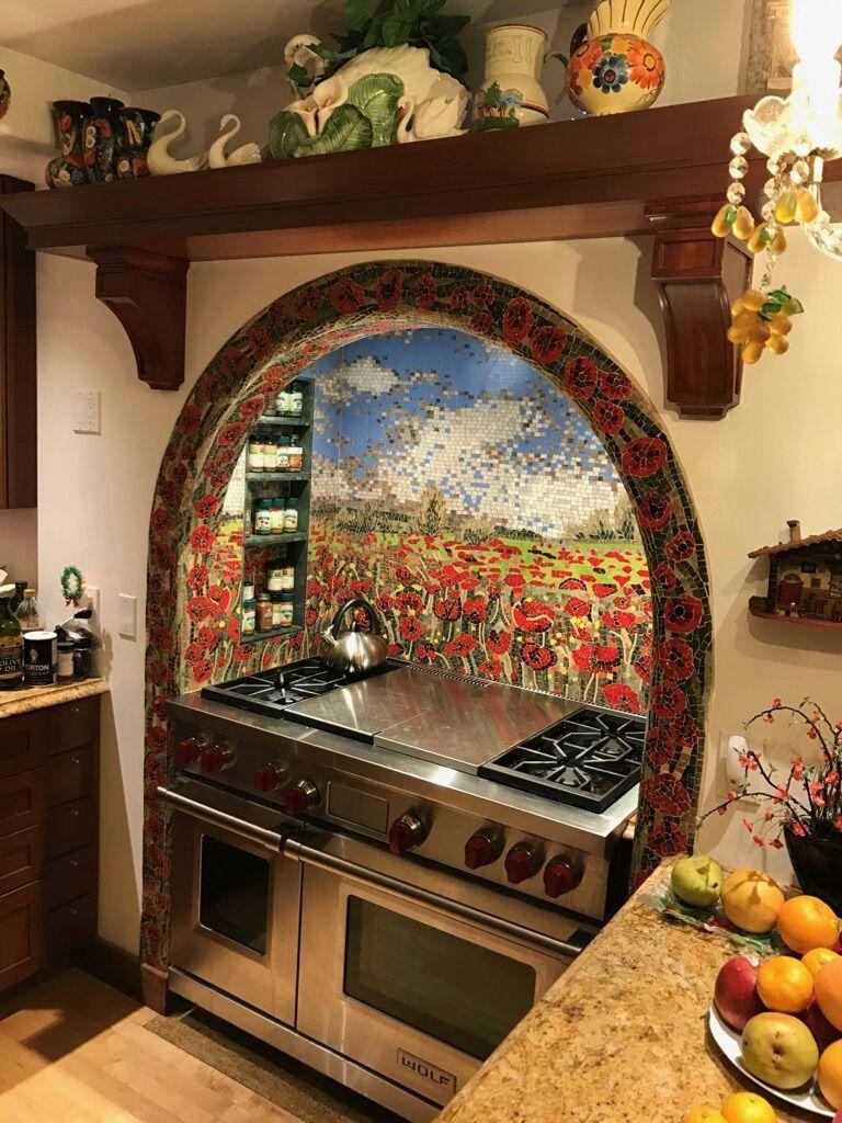 Poppy Flower Mosaic Field by Mozaico