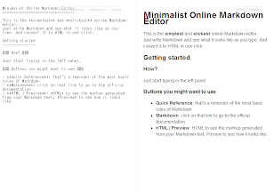 Minimalist Online Markdown Editor