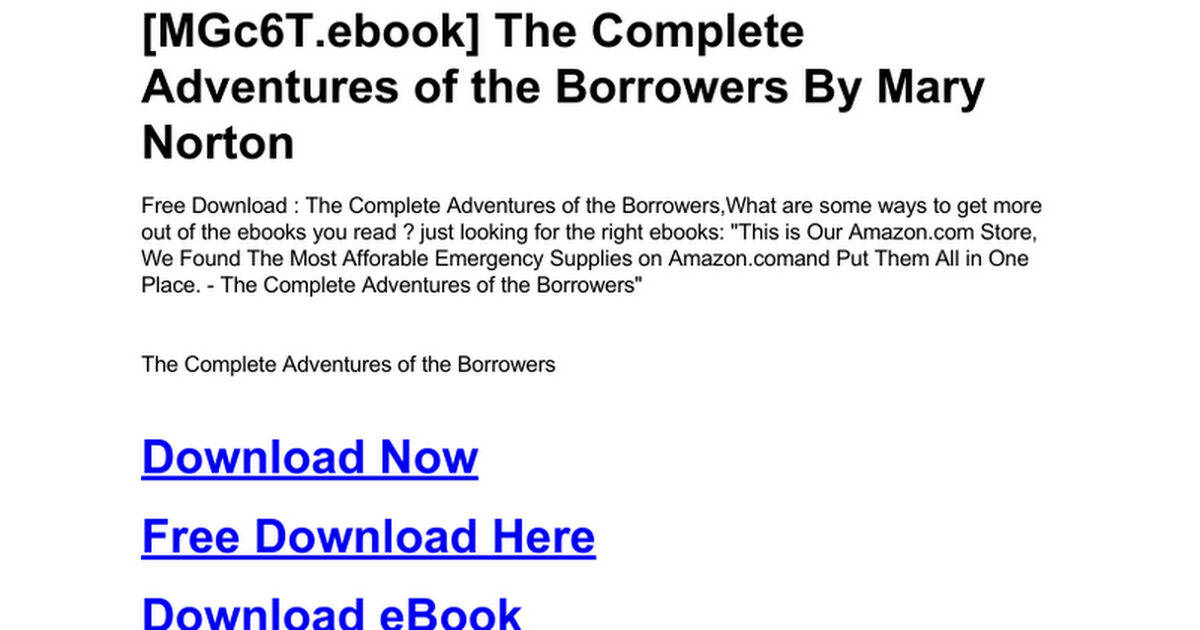 The Complete Adventures Of The Borrowersc Google Drive