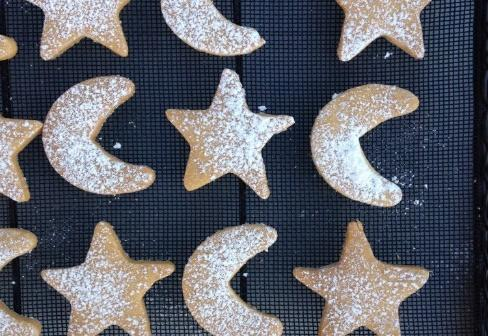 Star and moon shortbread biscuits
