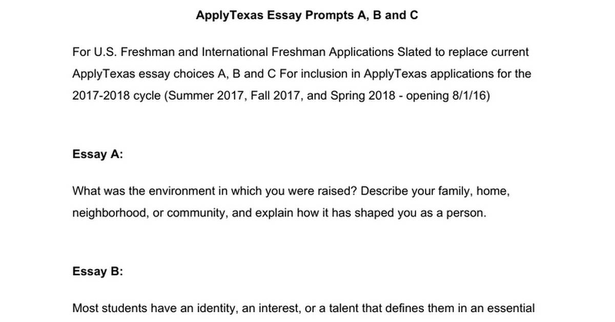apply texas essay prompts google docs