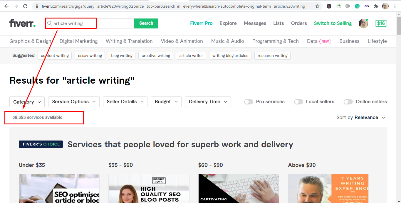Screenshot of Fiverr's article writing search results - freelancing on Fiverr