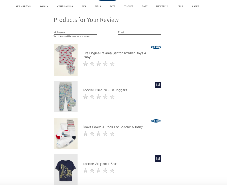 Gap product review prompt example