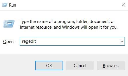 The Registry Editor Run command